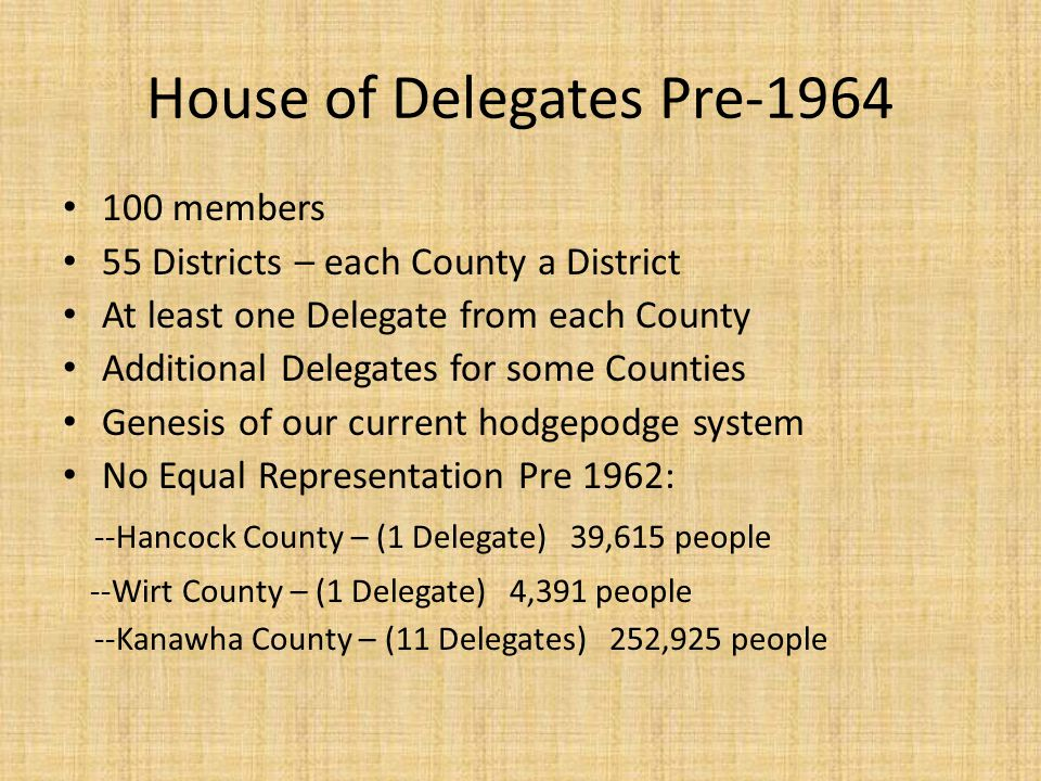 House of Delegates Pre-1964 100 members 55 Districts – each County a District At least one Delegate from each County Additional Delegates for some Counties Genesis of our current hodgepodge system No Equal Representation Pre 1962: --Hancock County – (1 Delegate) 39,615 people --Wirt County – (1 Delegate) 4,391 people --Kanawha County – (11 Delegates) 252,925 people