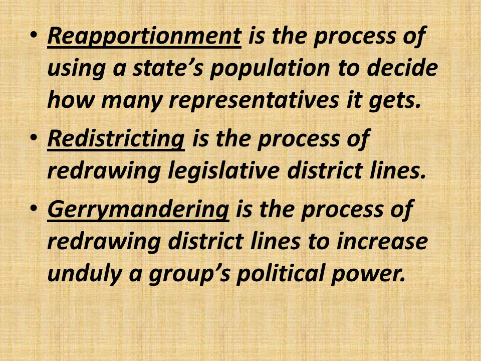 Reapportionment is the process of using a state's population to decide how many representatives it gets.