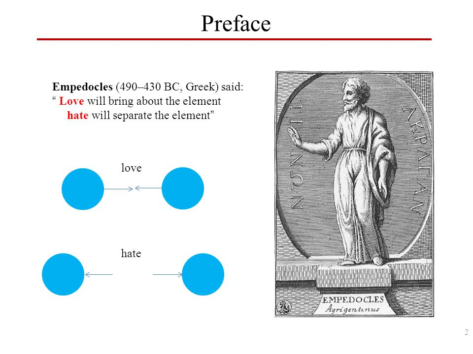 Empedocles (490–430 BC, Greek) said: Love will bring about the element hate will separate the element Preface love hate 2