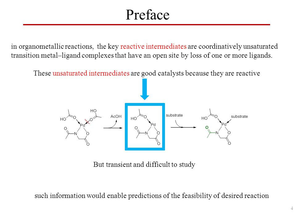 Preface in organometallic reactions, the key reactive intermediates are coordinatively unsaturated transition metal–ligand complexes that have an open site by loss of one or more ligands.