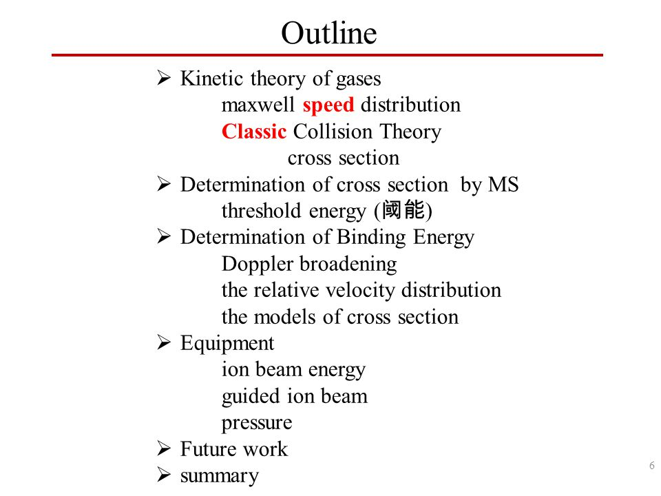Outline  Kinetic theory of gases maxwell speed distribution Classic Collision Theory cross section  Determination of cross section by MS threshold energy ( 阈能 )  Determination of Binding Energy Doppler broadening the relative velocity distribution the models of cross section  Equipment ion beam energy guided ion beam pressure  Future work  summary 6