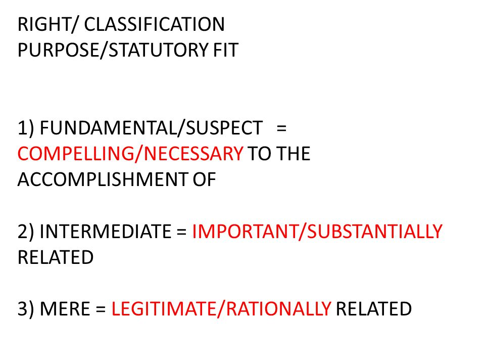 RIGHT/ CLASSIFICATION PURPOSE/STATUTORY FIT 1) FUNDAMENTAL/SUSPECT = COMPELLING/NECESSARY TO THE ACCOMPLISHMENT OF 2) INTERMEDIATE = IMPORTANT/SUBSTANTIALLY RELATED 3) MERE = LEGITIMATE/RATIONALLY RELATED