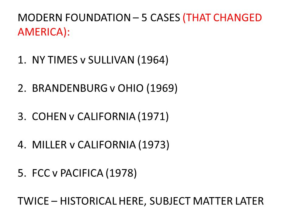 MODERN FOUNDATION – 5 CASES (THAT CHANGED AMERICA): 1.