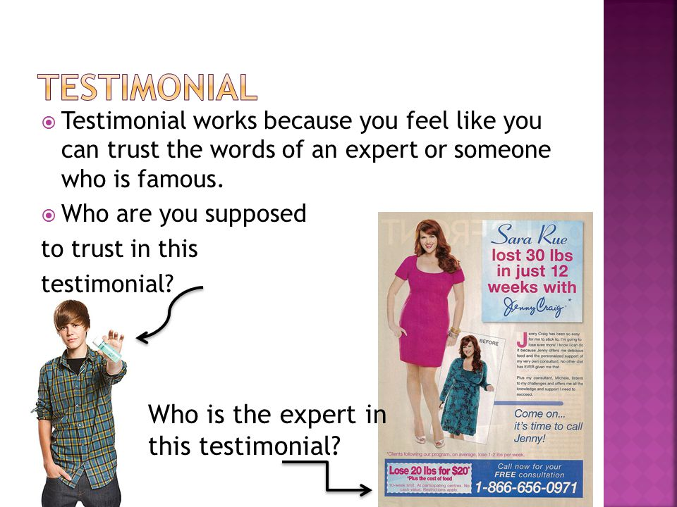  Testimonial works because you feel like you can trust the words of an expert or someone who is famous.  Who are you supposed to trust in this testi