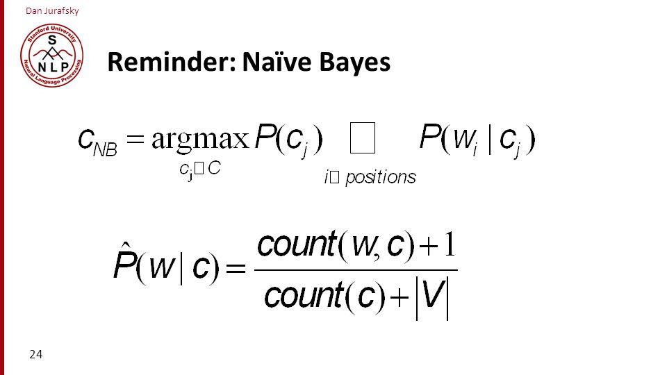 Dan Jurafsky Reminder: Naïve Bayes 24