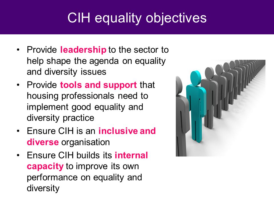 Provide leadership to the sector to help shape the agenda on equality and diversity issues Provide tools and support that housing professionals need to implement good equality and diversity practice Ensure CIH is an inclusive and diverse organisation Ensure CIH builds its internal capacity to improve its own performance on equality and diversity CIH equality objectives