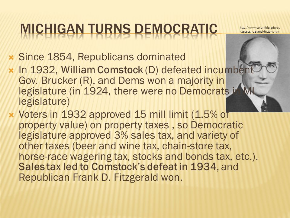  Since 1854, Republicans dominated  In 1932, William Comstock (D) defeated incumbent Gov. Brucker (R), and Dems won a majority in legislature (in 19