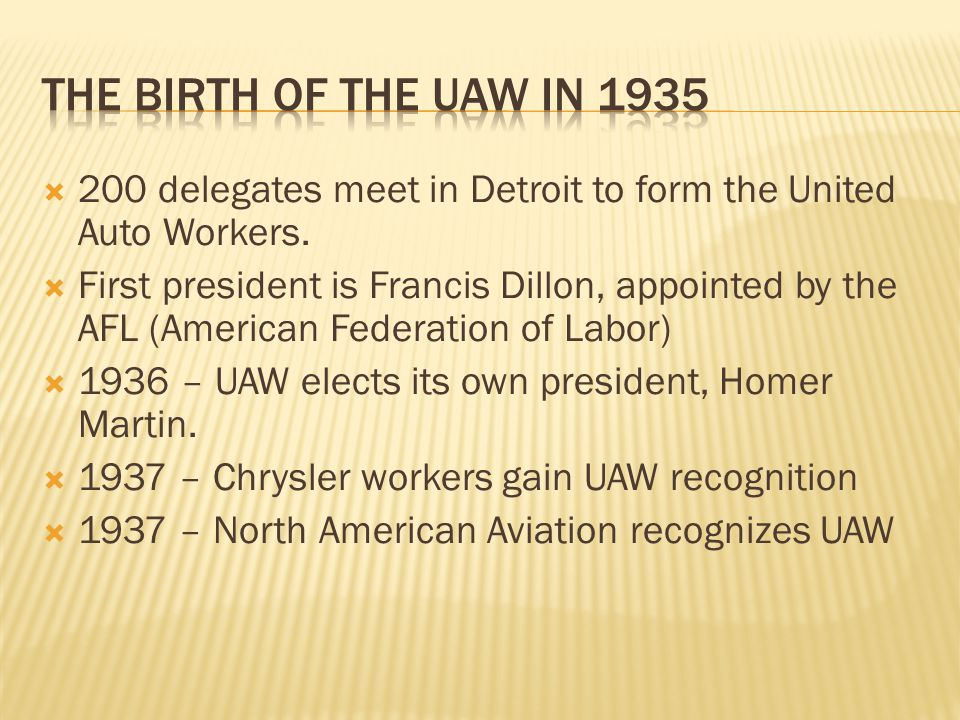  200 delegates meet in Detroit to form the United Auto Workers.