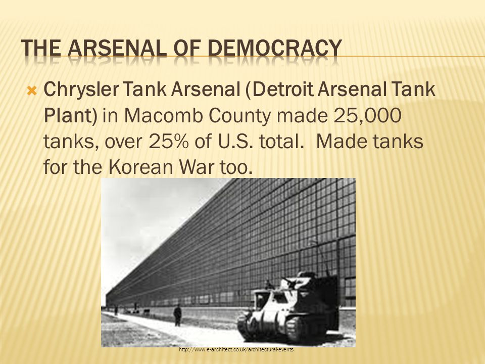  Chrysler Tank Arsenal (Detroit Arsenal Tank Plant) in Macomb County made 25,000 tanks, over 25% of U.S. total. Made tanks for the Korean War too. ht