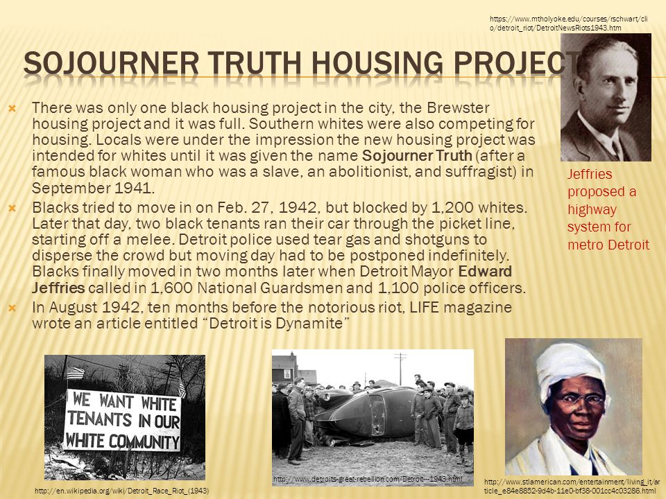  There was only one black housing project in the city, the Brewster housing project and it was full. Southern whites were also competing for housing.