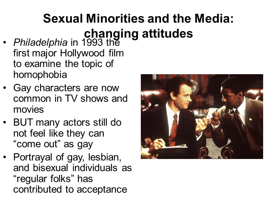 Sexual Minorities and the Media: changing attitudes Philadelphia in 1993 the first major Hollywood film to examine the topic of homophobia Gay characters are now common in TV shows and movies BUT many actors still do not feel like they can come out as gay Portrayal of gay, lesbian, and bisexual individuals as regular folks has contributed to acceptance