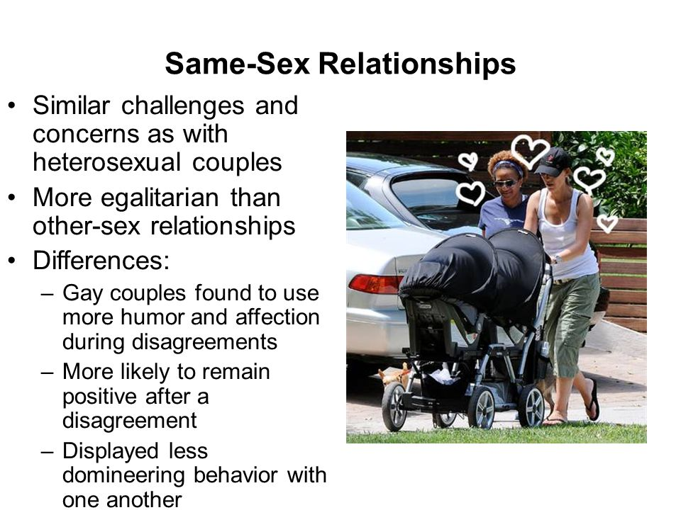 Same-Sex Relationships Similar challenges and concerns as with heterosexual couples More egalitarian than other-sex relationships Differences: –Gay couples found to use more humor and affection during disagreements –More likely to remain positive after a disagreement –Displayed less domineering behavior with one another