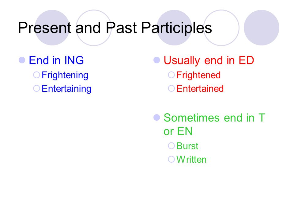 Present and Past Participles End in ING  Frightening  Entertaining Usually end in ED  Frightened  Entertained Sometimes end in T or EN  Burst  W