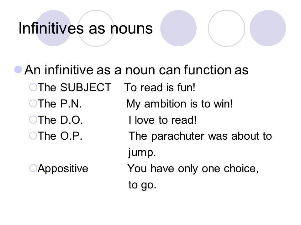 Infinitives as nouns An infinitive as a noun can function as  The SUBJECT To read is fun!  The P.N. My ambition is to win!  The D.O. I love to read