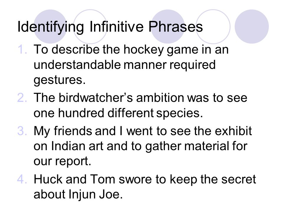 Identifying Infinitive Phrases 1.To describe the hockey game in an understandable manner required gestures. 2.The birdwatcher's ambition was to see on