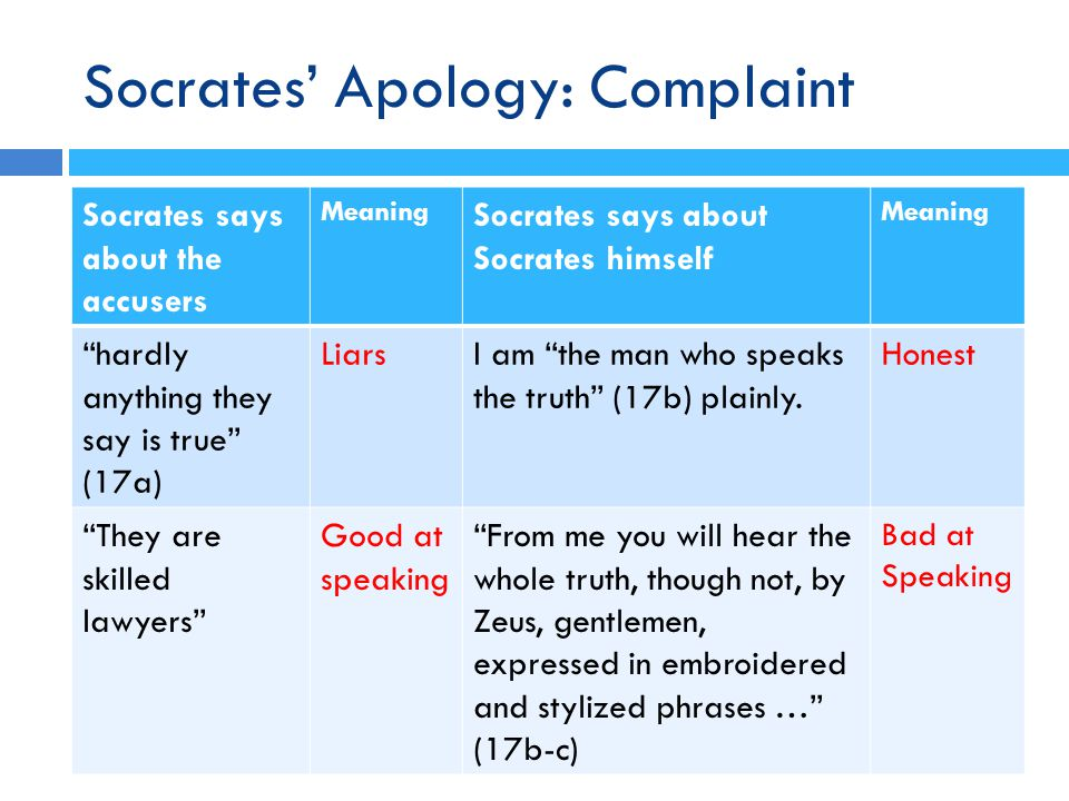 Socrates' Apology: Complaint Socrates says about the accusers Meaning Socrates says about Socrates himself Meaning hardly anything they say is true (17a) LiarsI am the man who speaks the truth (17b) plainly.