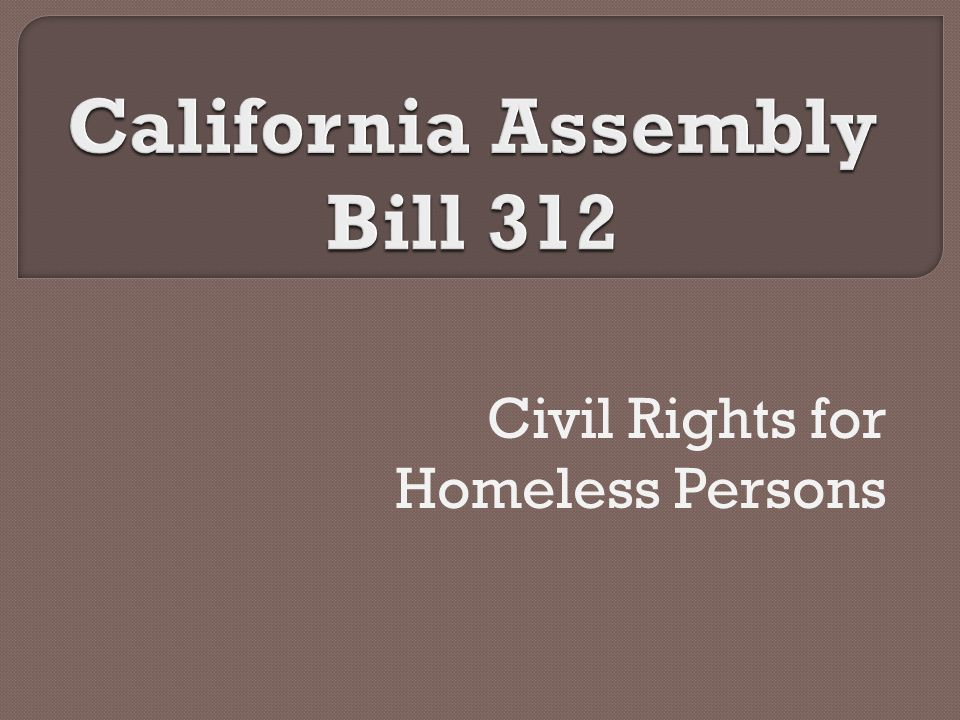 Civil Rights for Homeless Persons