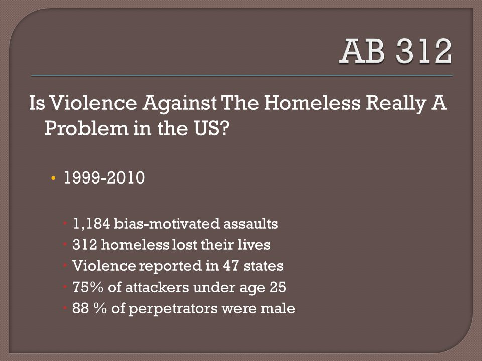 Is Violence Against The Homeless Really A Problem in the US.
