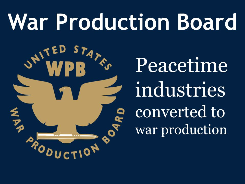 War Production Board Peacetime industries converted to war production