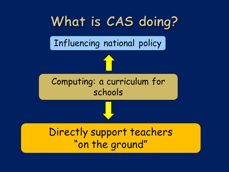 Computing: a curriculum for schools Influencing national policy Directly support teachers on the ground