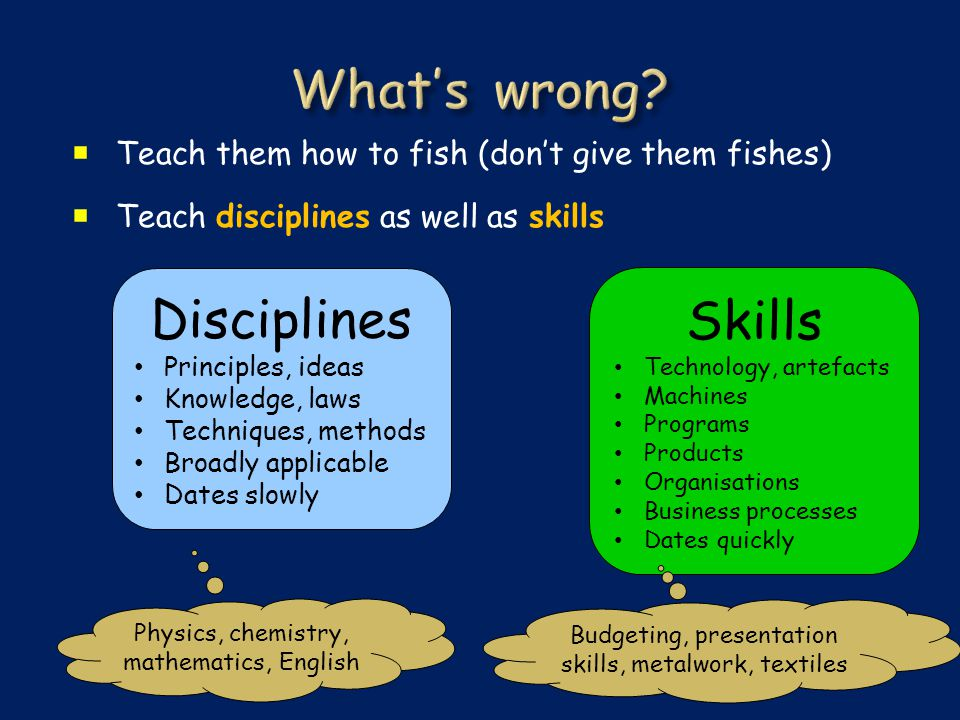  Teach them how to fish (don't give them fishes)  Teach disciplines as well as skills Disciplines Principles, ideas Knowledge, laws Techniques, methods Broadly applicable Dates slowly Skills Technology, artefacts Machines Programs Products Organisations Business processes Dates quickly Physics, chemistry, mathematics, English Budgeting, presentation skills, metalwork, textiles