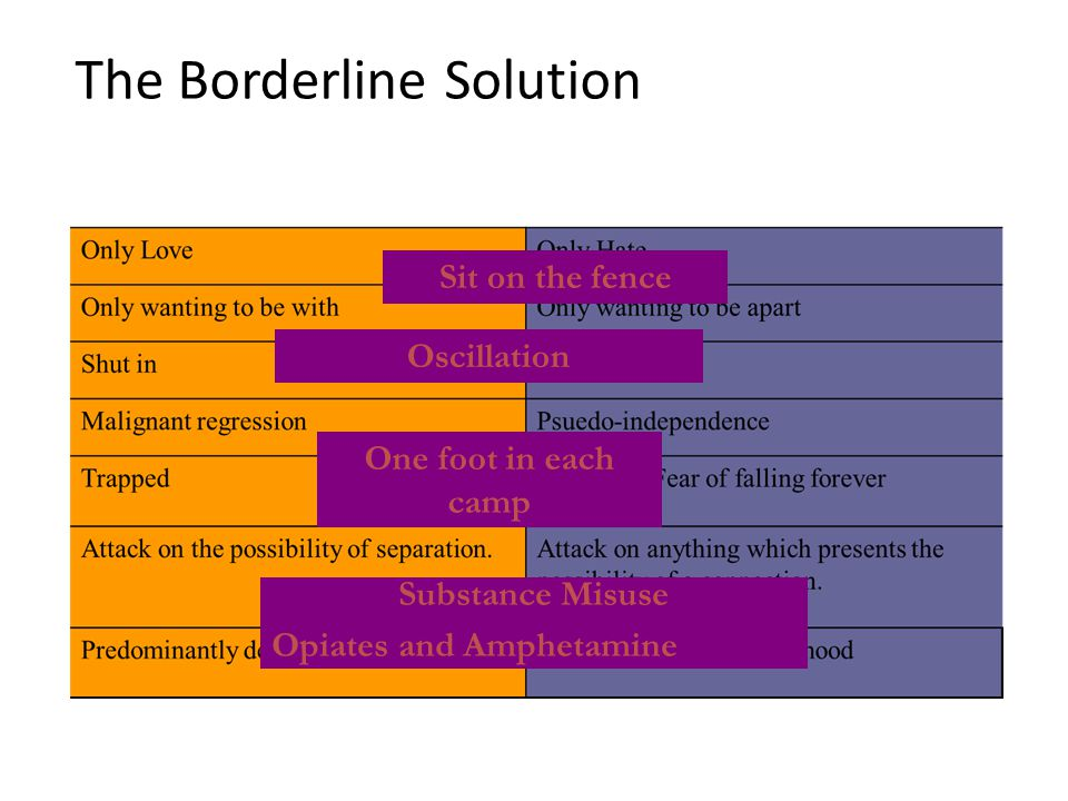 The Borderline Solution Sit on the fence Oscillation One foot in each camp Substance Misuse Opiates and Amphetamine