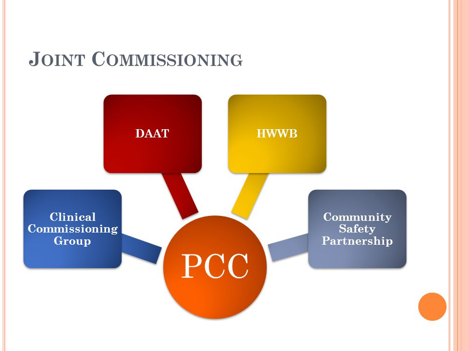 J OINT C OMMISSIONING PCC Clinical Commissioning Group DAATHWWB Community Safety Partnership