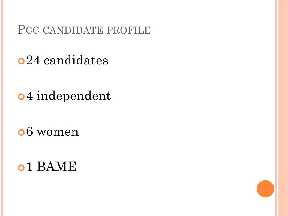 P CC CANDIDATE PROFILE 24 candidates 4 independent 6 women 1 BAME