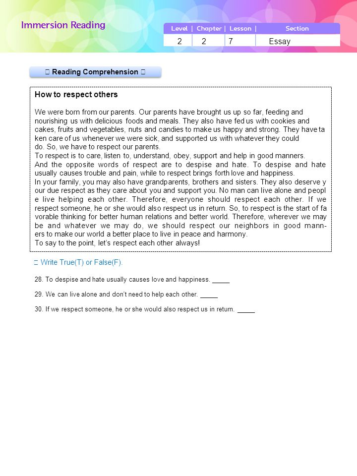 LevelChapterLessonSection 227Essay 2 2 7 Essay ▶ Reading Comprehension Ⅱ ☞ Write True(T) or False(F).