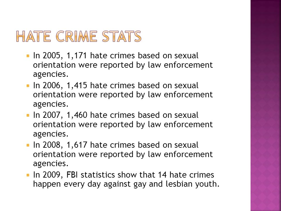  In 2005, 1,171 hate crimes based on sexual orientation were reported by law enforcement agencies.