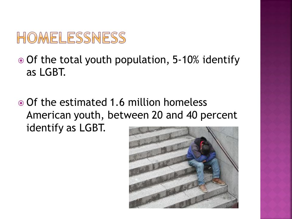  Of the total youth population, 5-10% identify as LGBT.