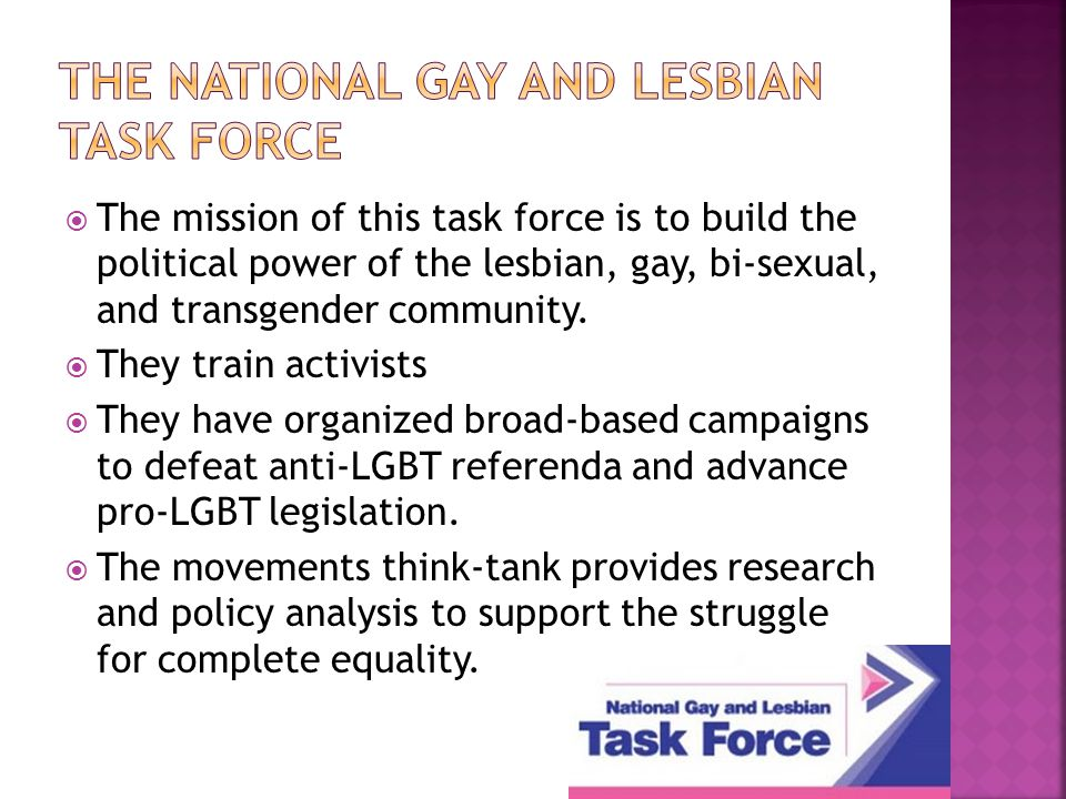  The mission of this task force is to build the political power of the lesbian, gay, bi-sexual, and transgender community.