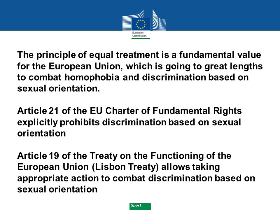 Sport Five pillars:  EU ANTI-DISCRIMINATION LEGISLATION  MAINSTREAMING OF ANTI-DISCRIMINATION IN ALL EU POLICIES  PROMOTING AWARENESS AND SUPPORTING PROJECTS  MOBILISING STAKEHOLDERS THROUGH DIALOGUE  MONITORING AND RESEARCH EU Anti Discrimination