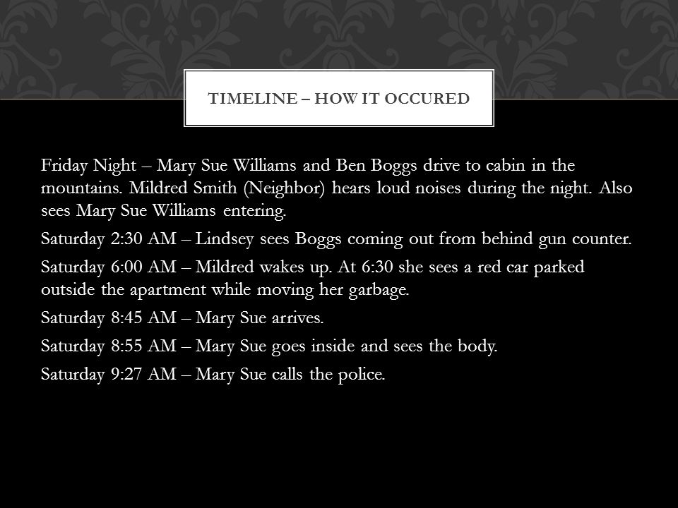 This double homicide was put to effect by the combined efforts of the two murderers, Mary Sue Williams and Ben Boggs.
