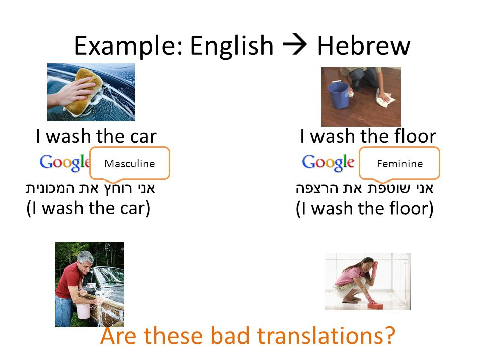 Example: English  Hebrew I wash the floor אני רוחץ את המכוניתאני שוטפת את הרצפה I wash the car (I wash the floor) (I wash the car) FeminineMasculine Are these bad translations