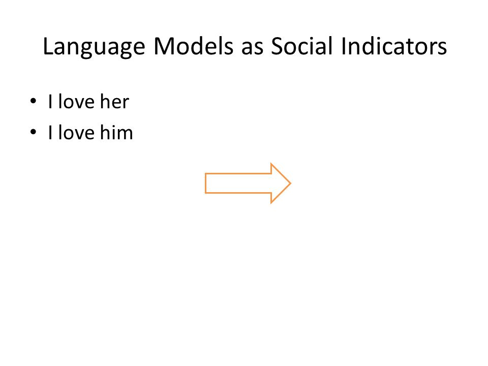 Language Models as Social Indicators I love her I love him