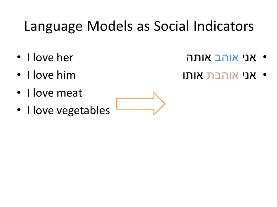 Language Models as Social Indicators I love her I love him I love meat I love vegetables אני אוהב אותה אני אוהבת אותו