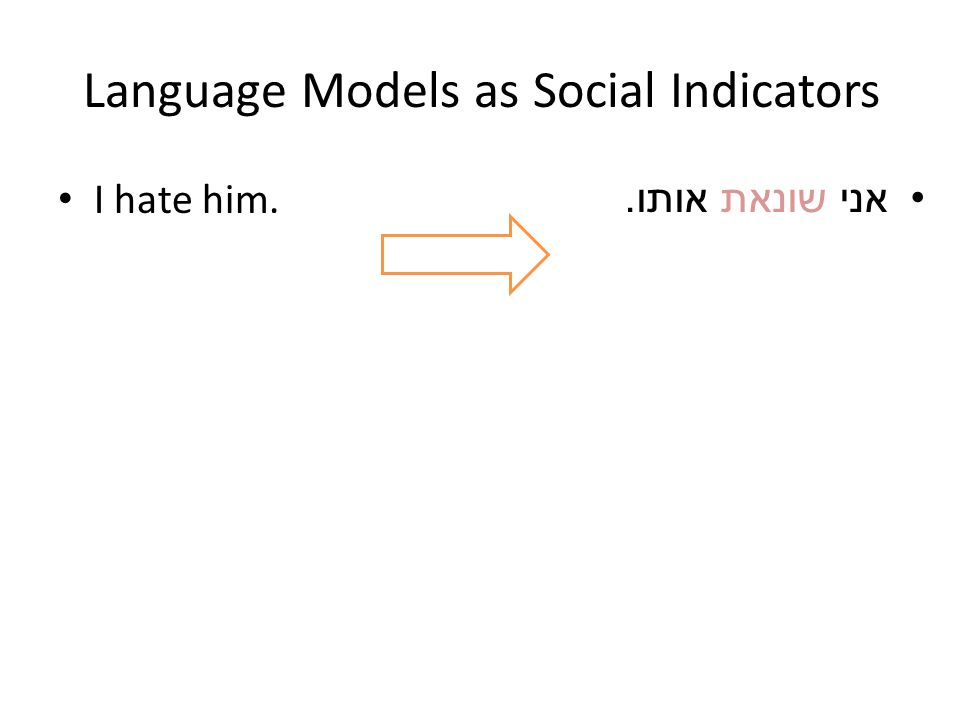 Language Models as Social Indicators I hate him. אני שונאת אותו.