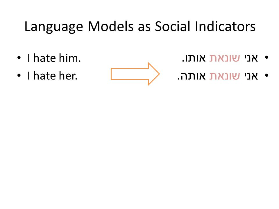 Language Models as Social Indicators I hate him. I hate her. אני שונאת אותו. אני שונאת אותה.