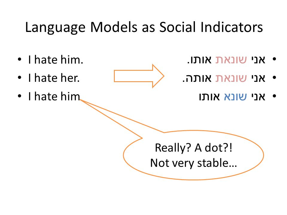Language Models as Social Indicators I hate him. I hate her.