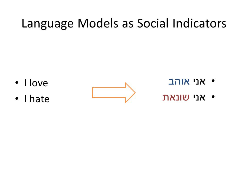 I love I hate Language Models as Social Indicators אני אוהב אני שונאת
