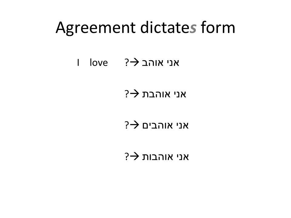 I love  אני אוהב  אני אוהבת  אני אוהבים  אני אוהבות Agreement dictates form