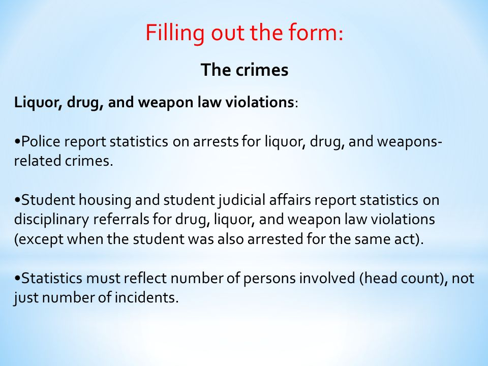 Filling out the form: The crimes Liquor, drug, and weapon law violations: Police report statistics on arrests for liquor, drug, and weapons- related c