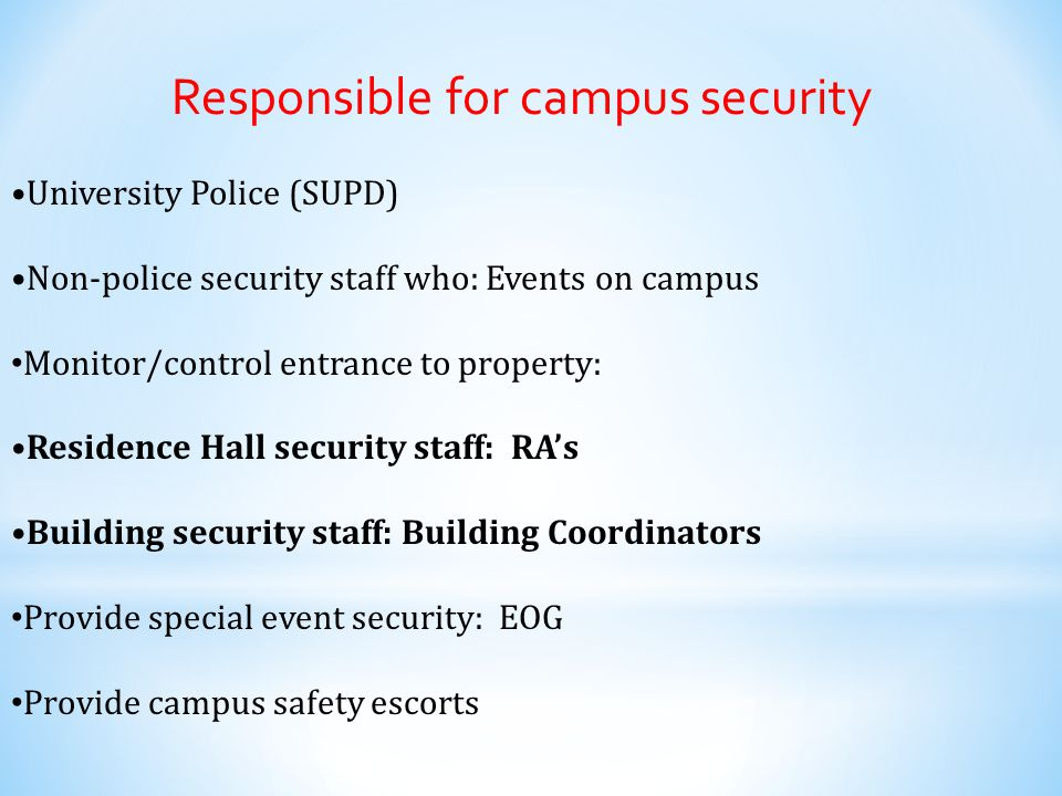 Location, location, location A crime must be reported if it occurred: On campus In on-campus student residences (even if privately owned & operated) On public property adjacent to campus (e.g.
