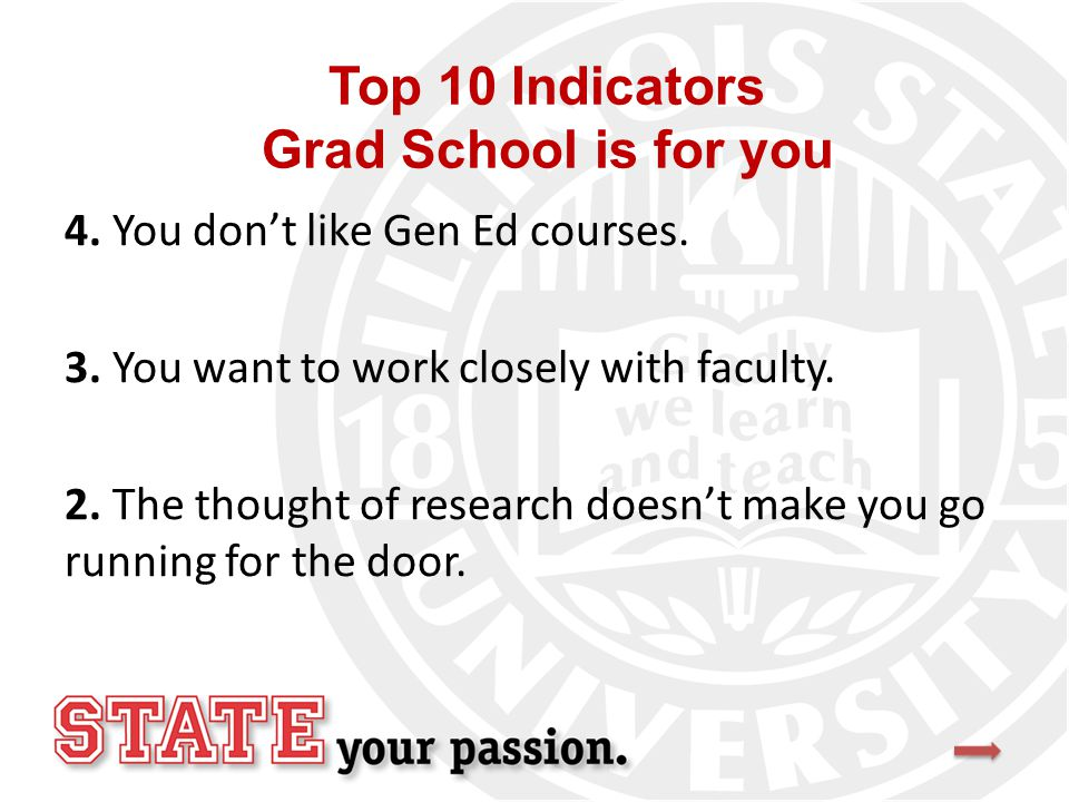 Top 10 Indicators Grad School is for you 4. You don't like Gen Ed courses.