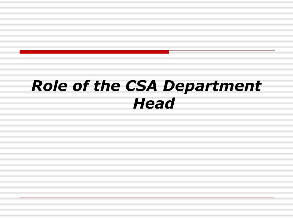 Role of the CSA Department Head