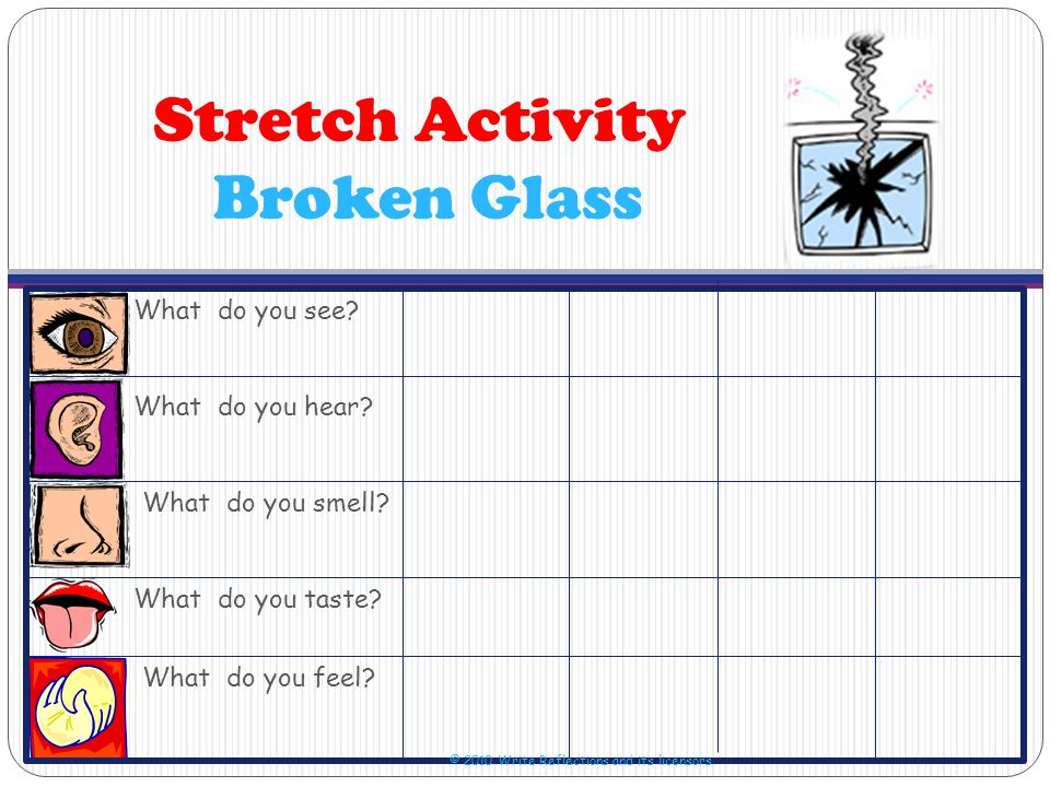 Stretch Activity Broken Glass What do you see. What do you hear.