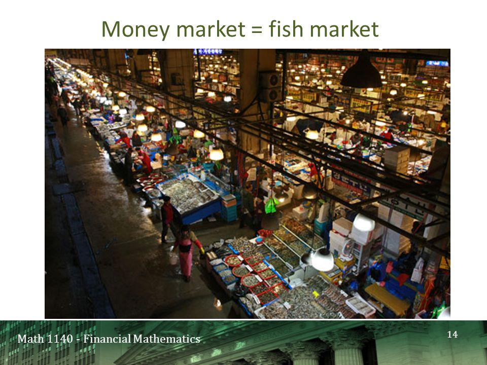 Math 1140 - Financial Mathematics Money market = fish market 14