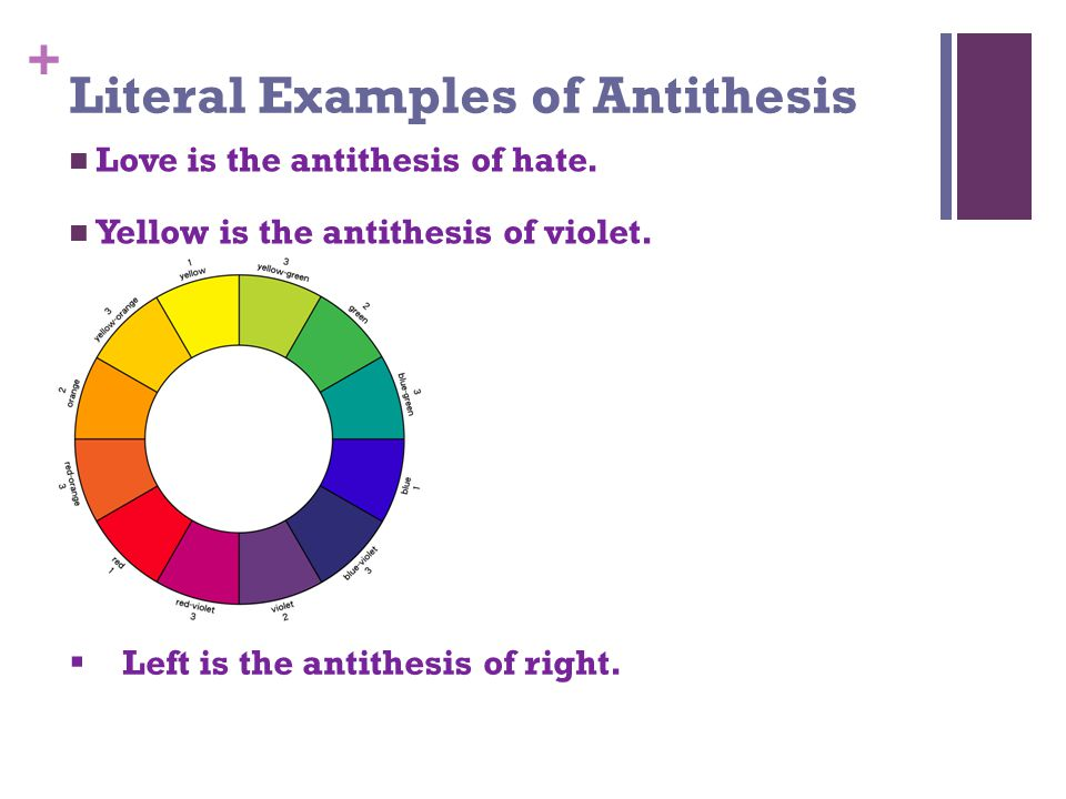 + Literal Examples of Antithesis Love is the antithesis of hate.