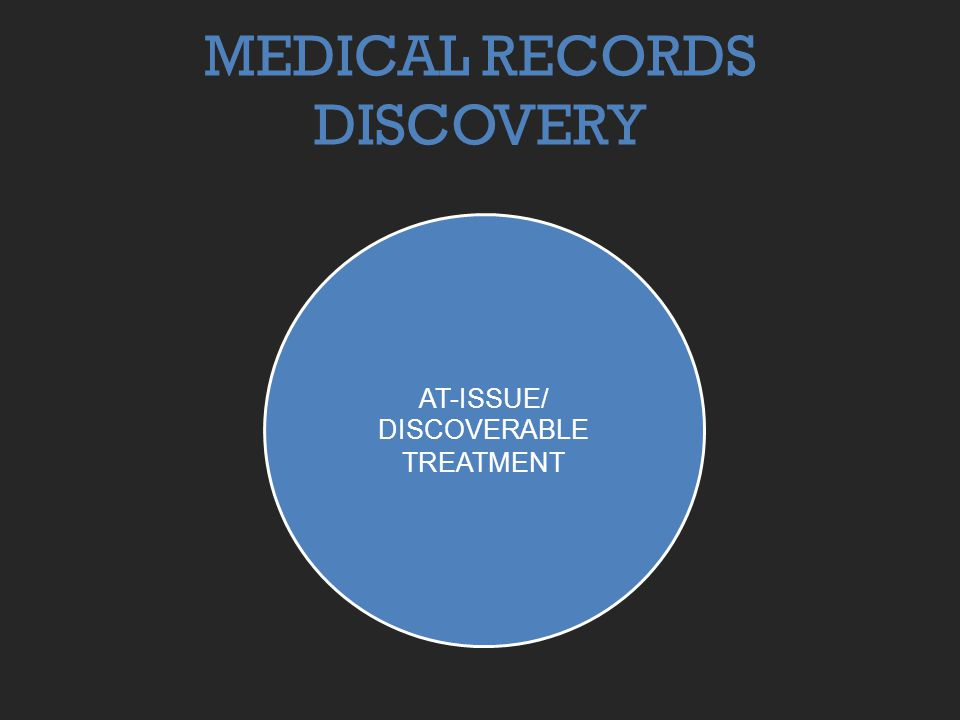 MEDICAL RECORDS DISCOVERY AT-ISSUE/ DISCOVERABLE TREATMENT